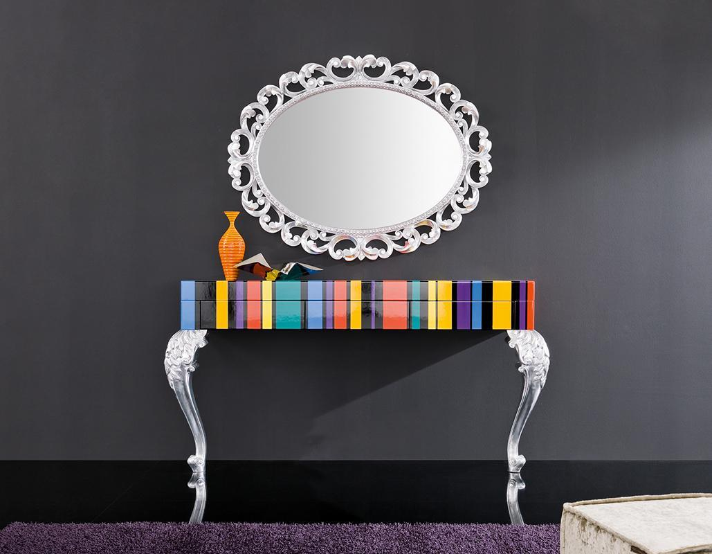 transitional colorful console table