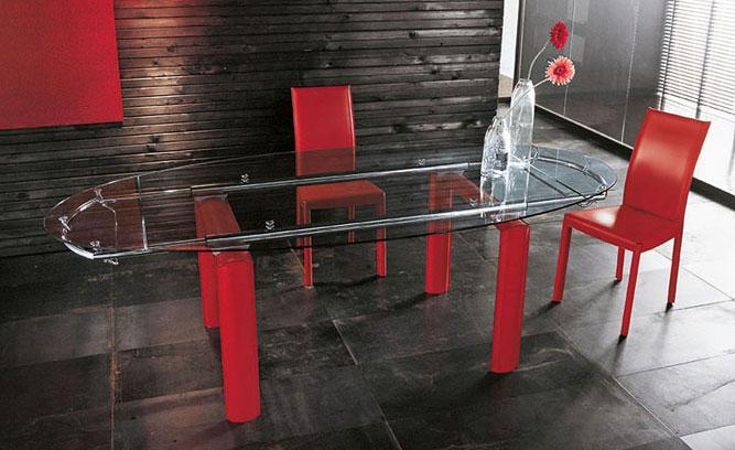 red and glass dining table
