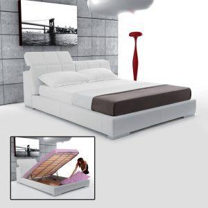 pretty modern bedroom and woman putting a pillow under the mattress
