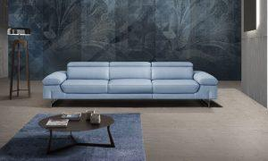 white modern leather sofa with little coffee table