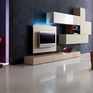 wall unit with a lamp and books on it