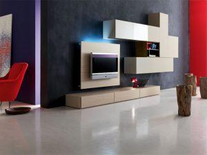 wall unit in a modern living room