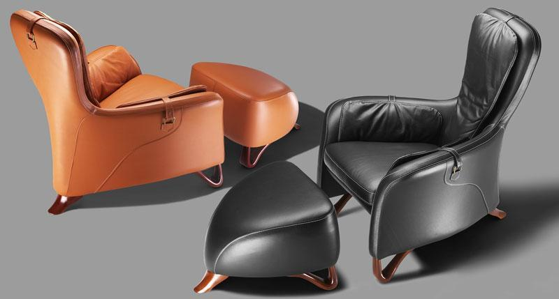 Oki armchair and ottoman leather