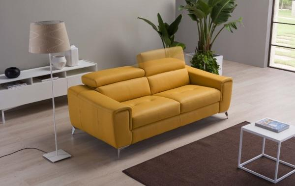 yellow leather sofa Francine