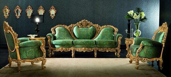 green sofa and armchairs by Silik