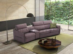 upholstered Italian fabric leather couch